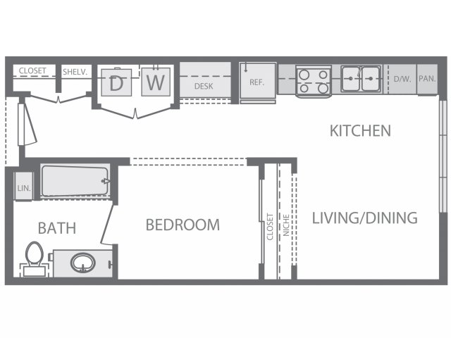 491 sq. ft. to 527 sq. ft. A floor plan