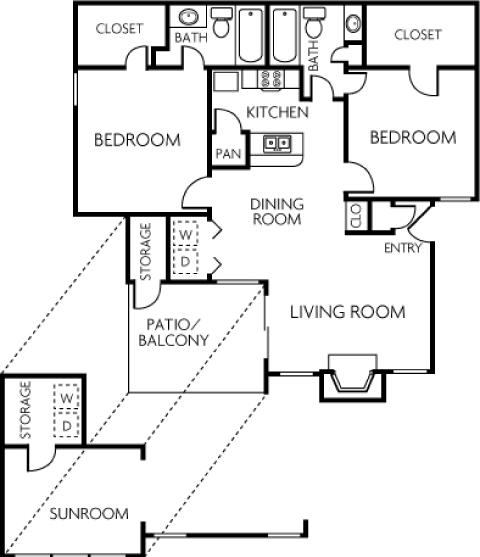 1,152 sq. ft. 2BS floor plan