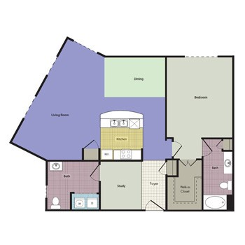 1,073 sq. ft. Chateau floor plan