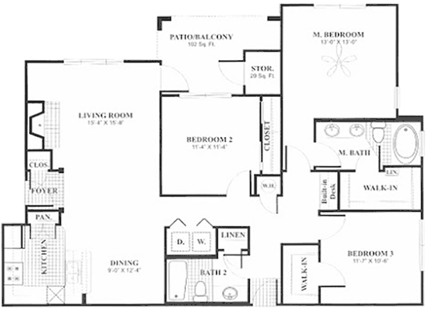 1,368 sq. ft. to 1,415 sq. ft. C2 floor plan