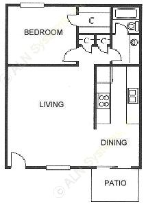 775 sq. ft. floor plan