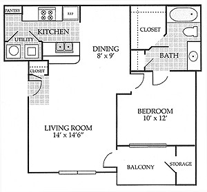 750 sq. ft. Churchill floor plan