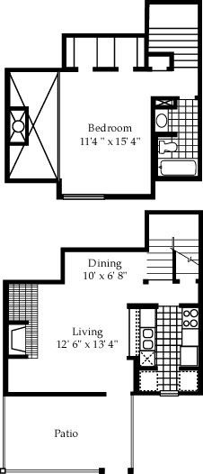 762 sq. ft. A5 floor plan