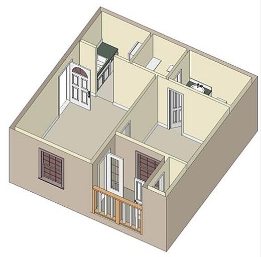 432 sq. ft. A1 floor plan