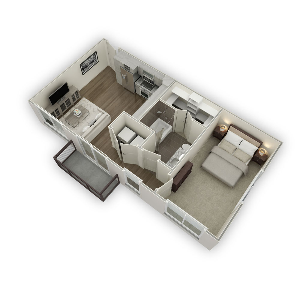 657 sq. ft. S2 floor plan