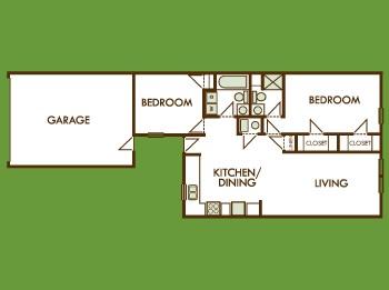1,002 sq. ft. Ph 2 floor plan