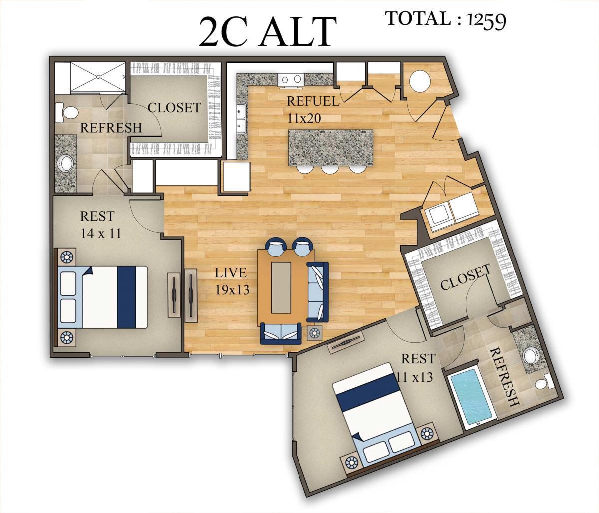 1,259 sq. ft. 2C Alt 1 floor plan