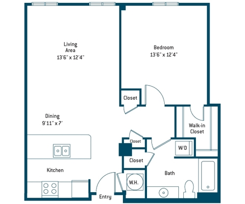 811 sq. ft. AL floor plan