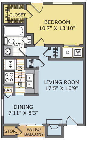 630 sq. ft. Meridian floor plan