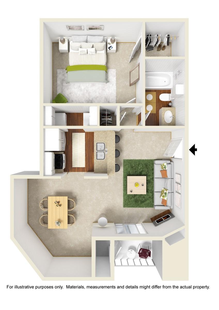 665 sq. ft. A5 floor plan