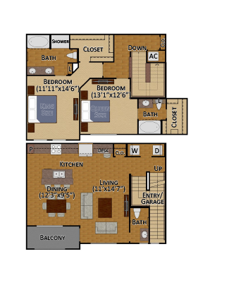 1,518 sq. ft. B5 floor plan
