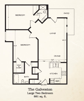 881 sq. ft. Galveston floor plan