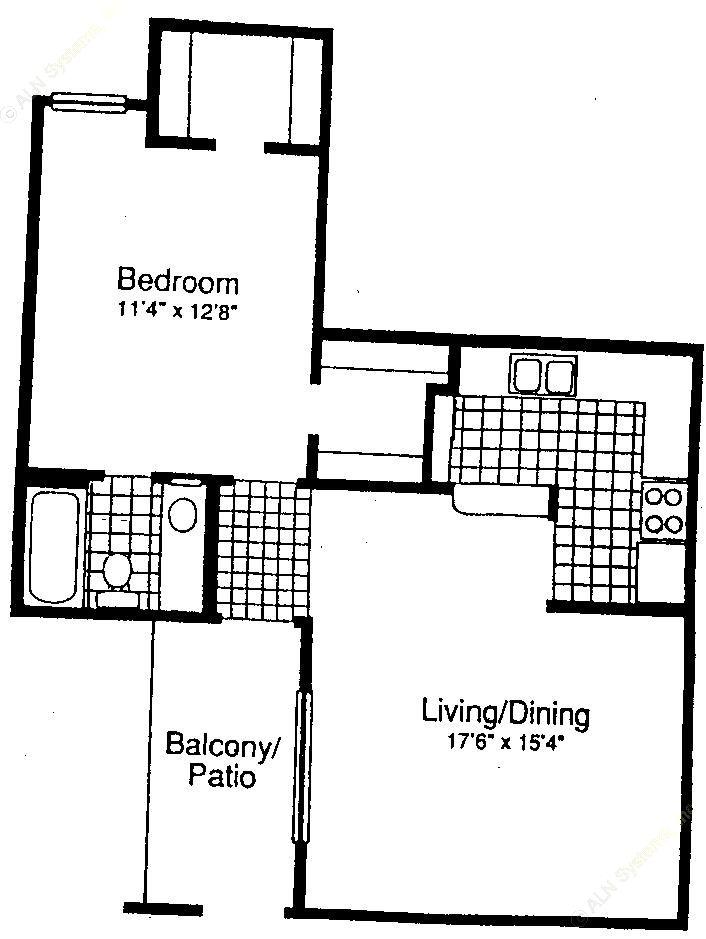 673 sq. ft. A-2 floor plan