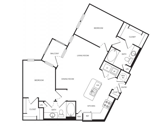 1,085 sq. ft. B4 floor plan