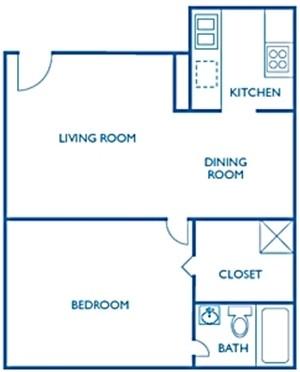 690 sq. ft. Wycliffe floor plan