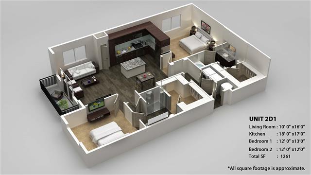 1,261 sq. ft. 2D floor plan