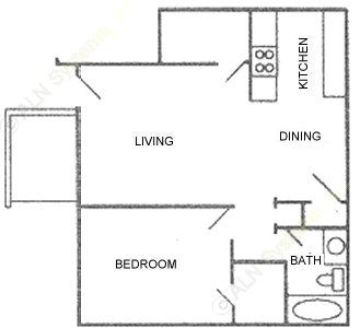 600 sq. ft. Plan B floor plan