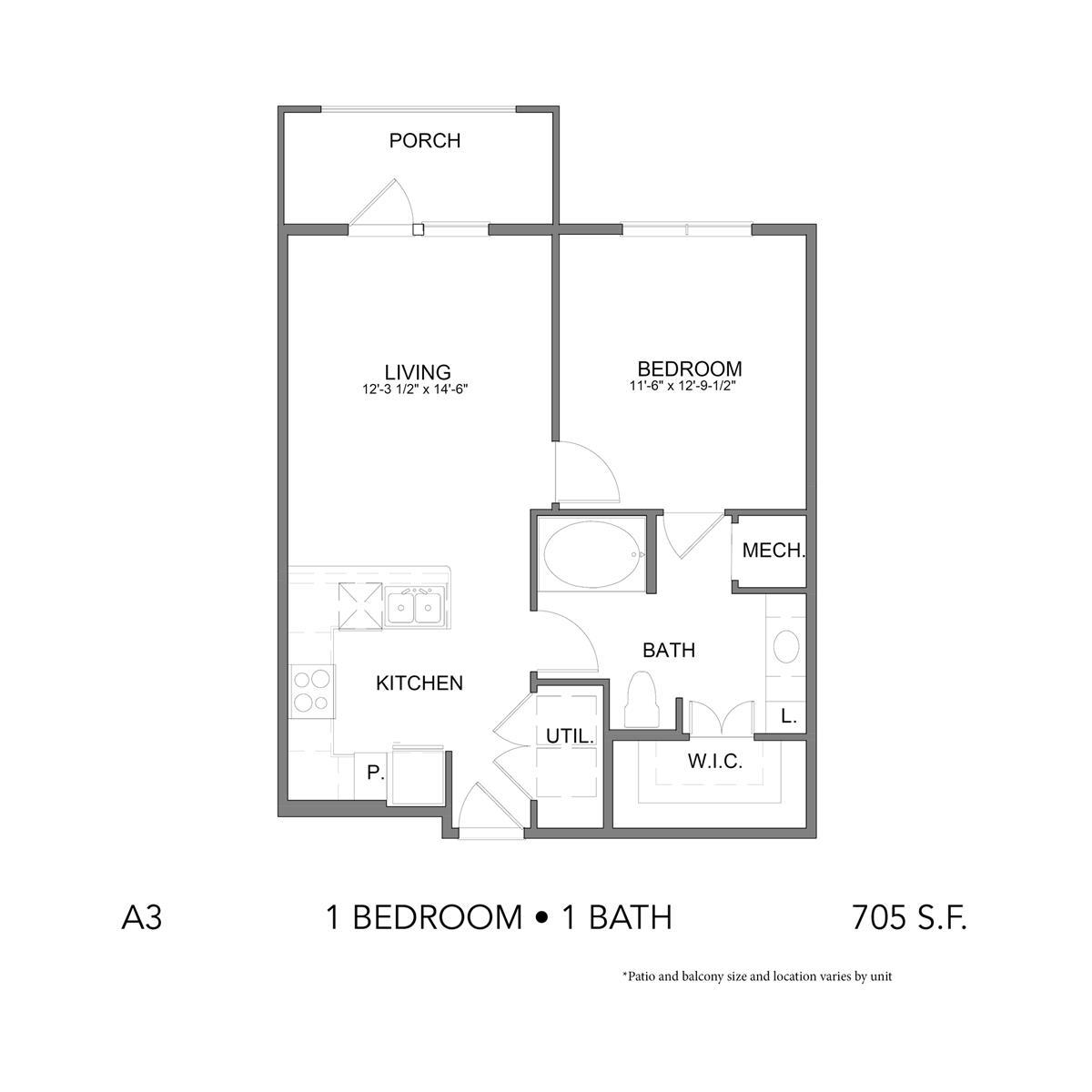 705 sq. ft. A3 floor plan