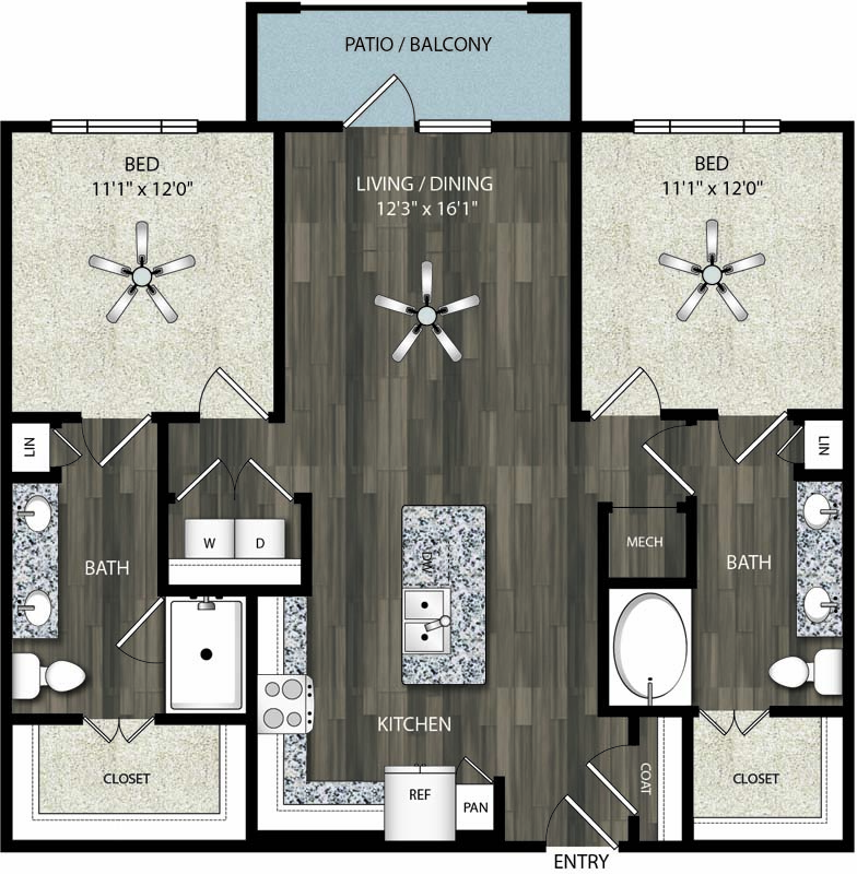 1,116 sq. ft. B3 floor plan