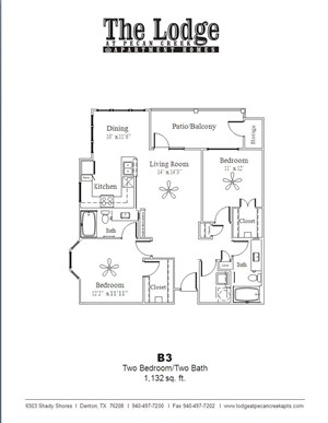 1,132 sq. ft. B3 floor plan