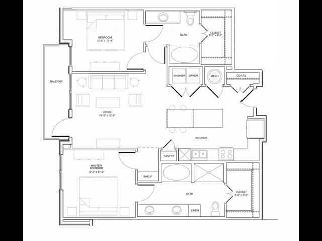 1,164 sq. ft. 2B floor plan