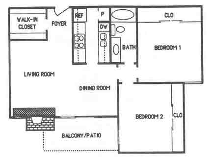 887 sq. ft. B2 floor plan