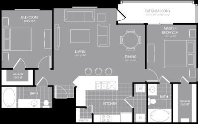 1,177 sq. ft. B4 floor plan