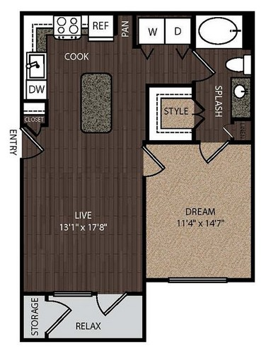 778 sq. ft. A1A 1st floor plan