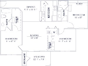 1,183 sq. ft. 50% floor plan
