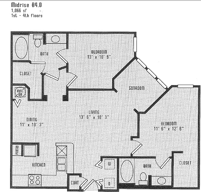 1,066 sq. ft. B4.0 floor plan