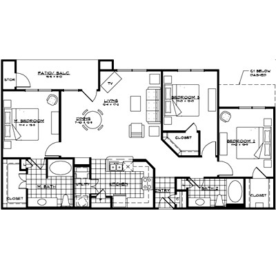 1,445 sq. ft. MESSINA floor plan