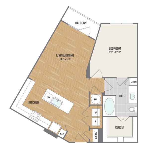815 sq. ft. A6 floor plan