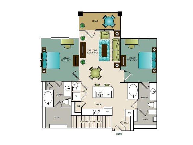 1,092 sq. ft. B1G floor plan