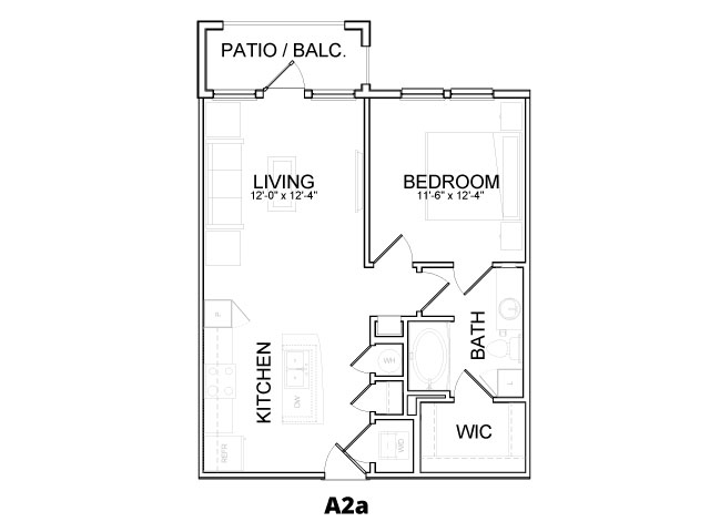 672 sq. ft. A2A floor plan