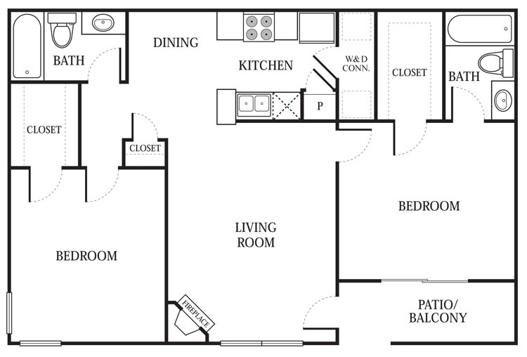 979 sq. ft. B4 floor plan