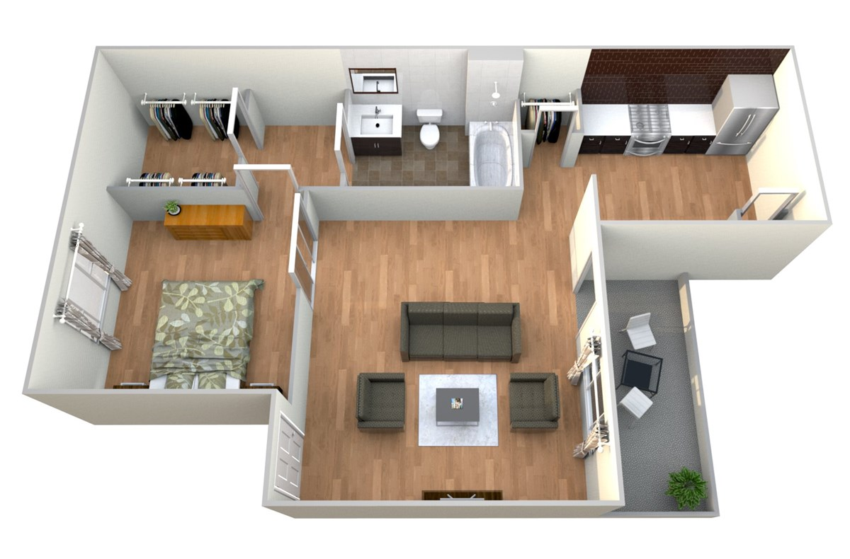 568 sq. ft. 1x1 B floor plan