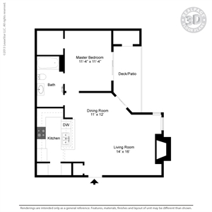 750 sq. ft. A3B floor plan