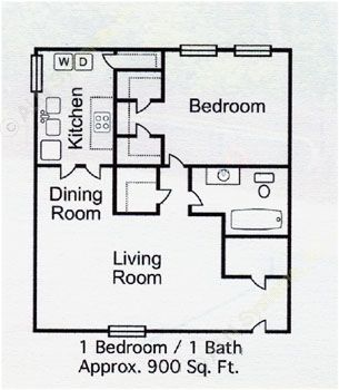 900 sq. ft. A-3 floor plan