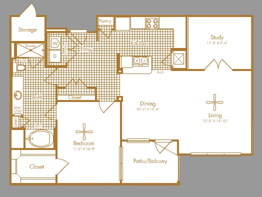 1,113 sq. ft. GREENBRIAR floor plan