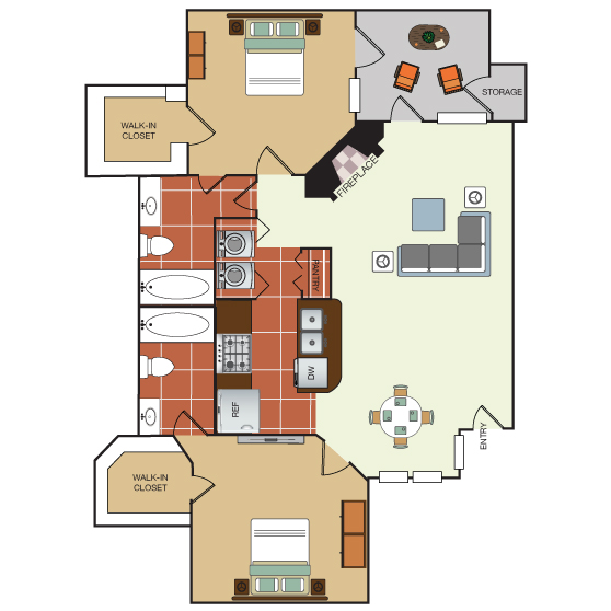 993 sq. ft. 2H floor plan
