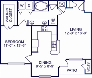 799 sq. ft. B floor plan