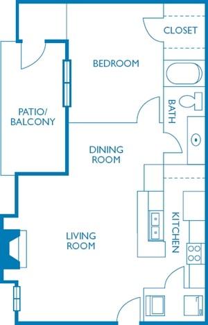 648 sq. ft. Barton floor plan