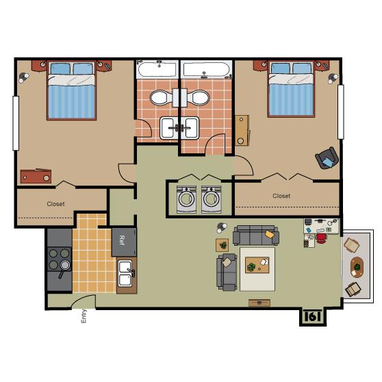1,051 sq. ft. B1 Ph II floor plan