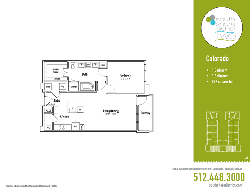 872 sq. ft. Colorado floor plan