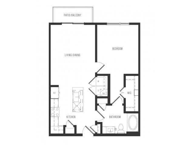 716 sq. ft. A1 floor plan