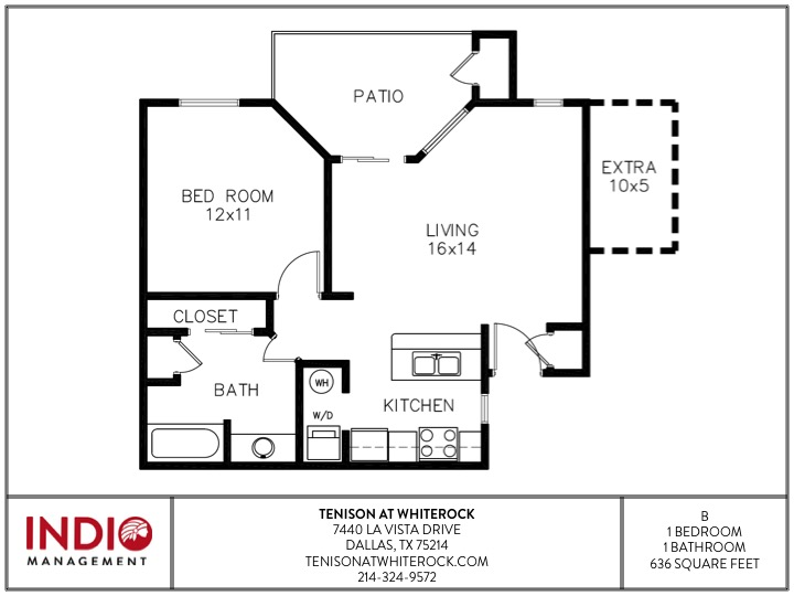 636 sq. ft. to 686 sq. ft. B floor plan