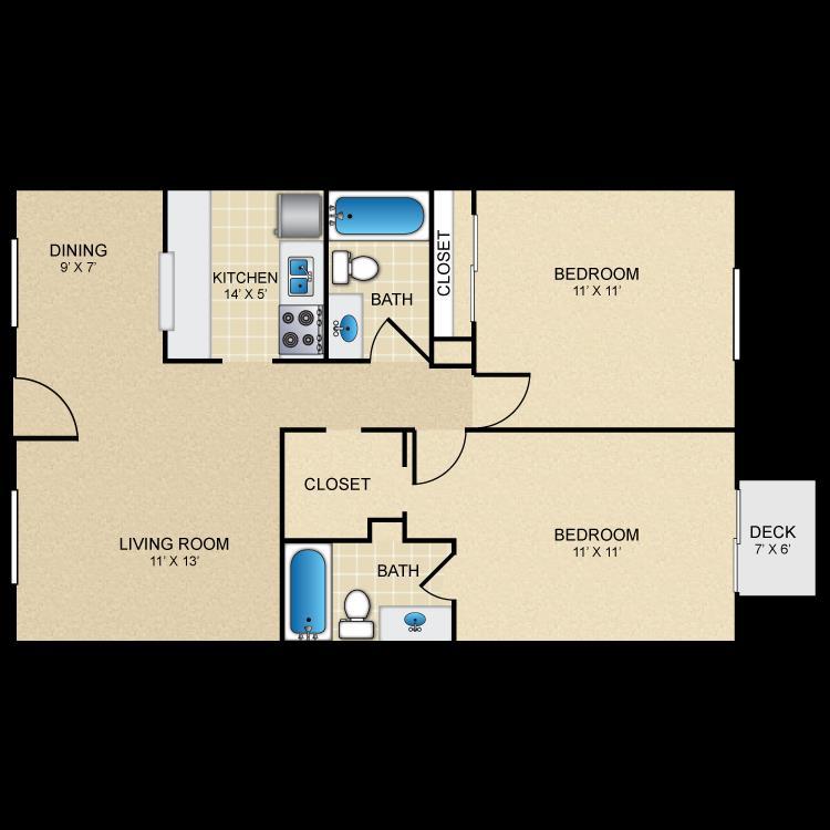941 sq. ft. B2 floor plan
