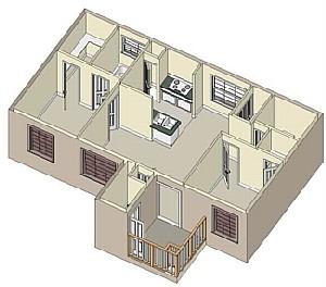 848 sq. ft. 60% floor plan