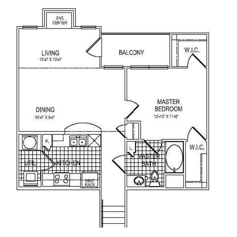 859 sq. ft. A6 floor plan