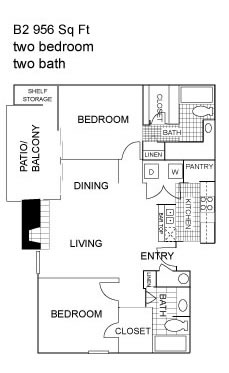 967 sq. ft. B2 floor plan